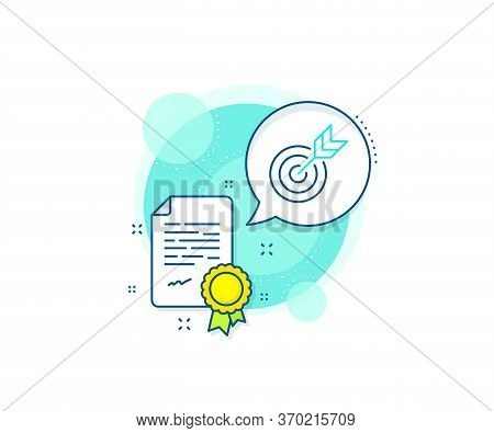 Marketing Targeting Strategy Symbol. Certification Complex Icon. Target Line Icon. Aim With Arrows S