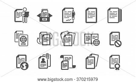 Documents Icons Set. Passport, Copy Files, Contract Agreement. Cv Interview, Documents Workflow, Att