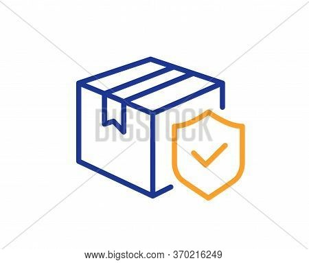 Parcel Insurance Line Icon. Risk Coverage Sign. Package Delivery Protection Symbol. Colorful Thin Li