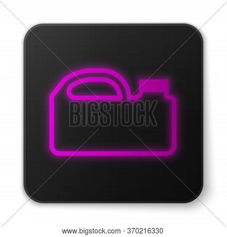 Glowing Neon Line Plastic Canister For Motor Machine Oil Icon Isolated On White Background. Oil Gall