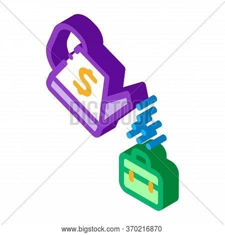 Cash Watering Job Cultivation Icon Vector. Isometric Cash Watering Job Cultivation Sign. Color Isola