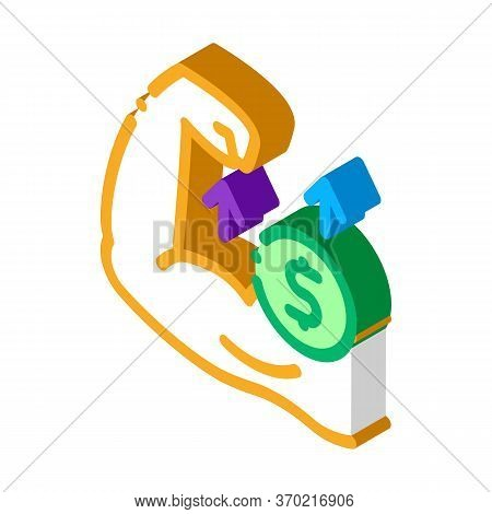 Money Earned By Force Icon Vector. Isometric Money Earned By Force Sign. Color Isolated Symbol Illus