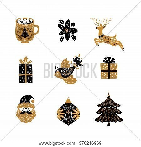 Santa Claus, Christmas Socks, Mistletoe, Bird, Gifts, Tree, Reindeer
