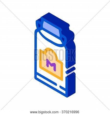 Milk Can With Handle Icon Vector. Isometric Milk Can With Handle Sign. Color Isolated Symbol Illustr
