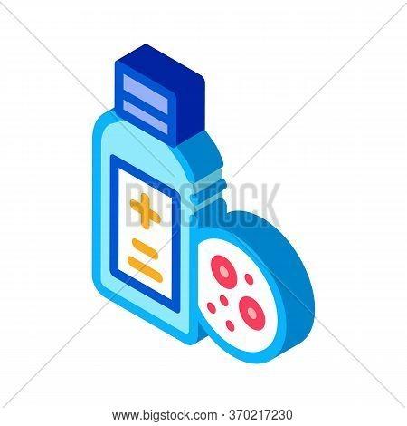 Medical Bottle For Dermatitis Icon Vector. Isometric Medical Bottle For Dermatitis Sign. Color Isola