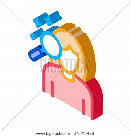 Dermatological Studies Of Women Icon Vector. Isometric Dermatological Studies Of Women Sign. Color I