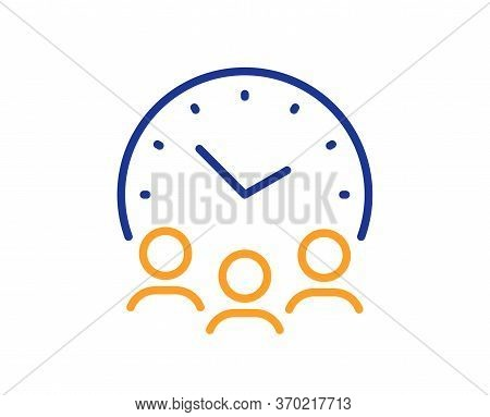 Meeting Time Line Icon. Business Teamwork Sign. Working Hours Symbol. Colorful Thin Line Outline Con