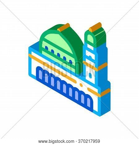 Muslim Holy City Icon Vector. Isometric Muslim Holy City Sign. Color Isolated Symbol Illustration