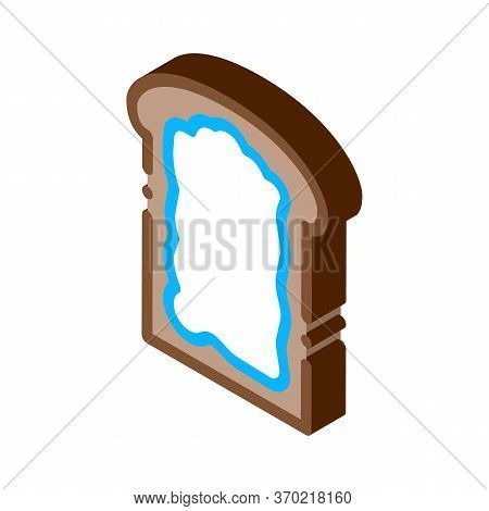 Toast With Mayonnaise Icon Vector. Isometric Toast With Mayonnaise Sign. Color Isolated Symbol Illus