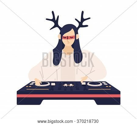 Fashionable Female Dj In Funny Deer Horns And Glasses Playing Electronic Music Records Vector Flat I