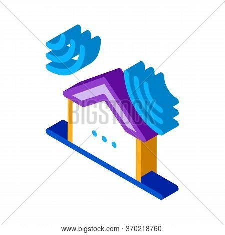 Sound Acting On Residential Building Icon Vector. Isometric Sound Acting On Residential Building Sig