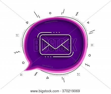 Messenger Mail Line Icon. Chat Bubble With Shadow. New Newsletter Sign. Phone E-mail Symbol. Thin Li