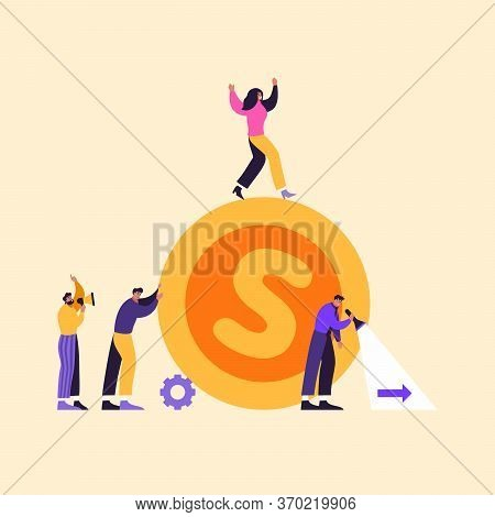 Vector Business Illustration Of Happy People. Successful Business Team Leads With The Victory And Mo