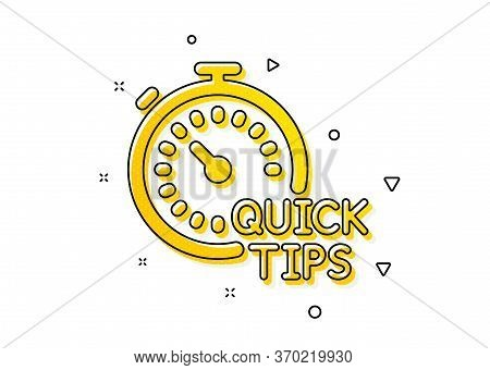 Helpful Tricks Sign. Quick Tips Icon. Tutorials With Timer Symbol. Yellow Circles Pattern. Classic Q