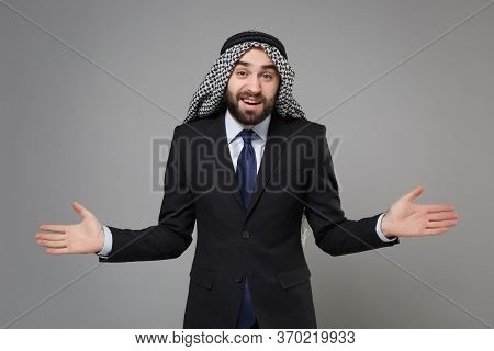 Perplexed Young Bearded Arabian Muslim Businessman In Keffiyeh Kafiya Ring Igal Agal Classic Black S