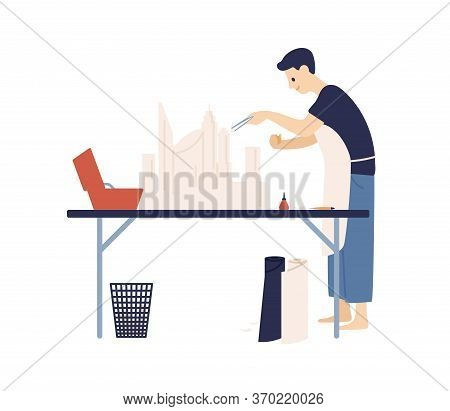 Happy Male In Apron Create Papercraft Layout Vector Flat Illustration. Smiling Man Making Design Of