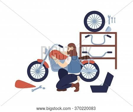 Bearded Hipster Guy Motorcycle Customization At Service Vector Flat Illustration. Mechanic Man Assem