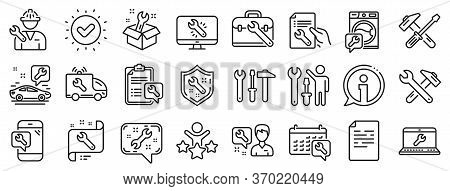 Set Of Hammer, Screwdriver And Spanner Tool Icons. Repair Car Service Line Icons. Recovery, Washing