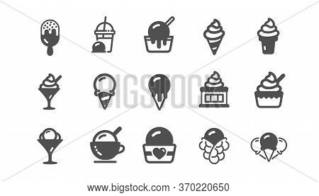 Ice Cream Icons Set. Bubble Waffle, Vanilla Sundae, Frozen Yogurt. Sweet Dessert Food, Milkshake Wit