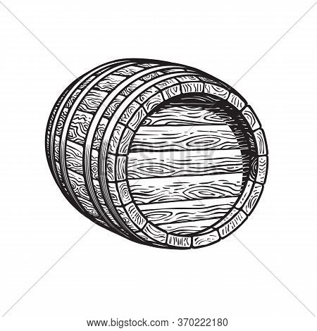Old Wooden Barrel Lying On Its Side. Beer, Wine, Rum Whiskey Barrel Three Quarters View. Hand Drawn