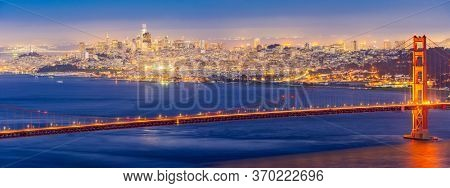 Panorama Sunset Golden Gate bridge Viewpoint with beautiful cityscape San Francisco skylines skyscraper building North California USA, United States Landmark Travel Destination and cityscape concept.