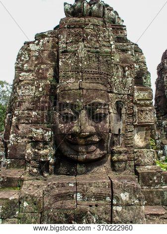 A Face At Bayon Temple In Angkor Wat, Cambodia