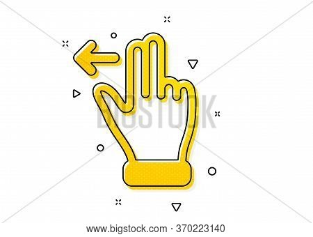 Slide Left Arrow Sign. Touchscreen Gesture Icon. Swipe Action Symbol. Yellow Circles Pattern. Classi