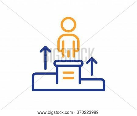 Business Podium Line Icon. Employee Nomination Sign. Person Award Symbol. Colorful Thin Line Outline