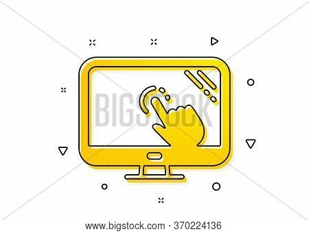 Online Quiz Test Sign. Touch Screen Icon. Yellow Circles Pattern. Classic Touch Screen Icon. Geometr