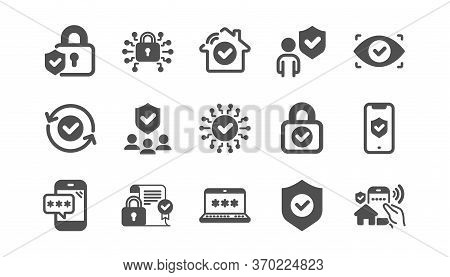 Security Icons Set. Password, Cyber Lock, Unlock. Guard, Shield, Home Security System Icons. Eye Acc
