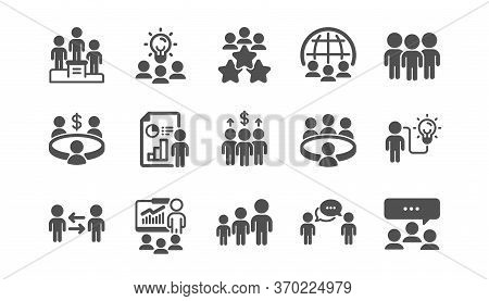 Meeting Icons Set. Online Seminar, Classroom, Conference. Team, Work And Business Idea Icons. Discus