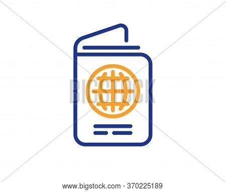 Passport Line Icon. Id Document Sign. Citizen Identity Doc Symbol. Colorful Thin Line Outline Concep