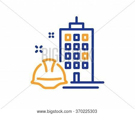 Construction Building Line Icon. Engineer Or Architect Helmet Sign. Industrial Engineering Symbol. C