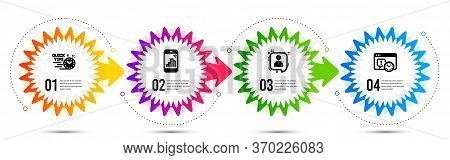 Quick Tips, Developers Chat And Graph Phone Icons Simple Set. Timeline Steps Infographic. Project De