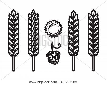 Beer Bottle Cap, Hop Cone And Ears Of Wheat, Barley Or Rye Icons. Design Elements For Beer Prodactio