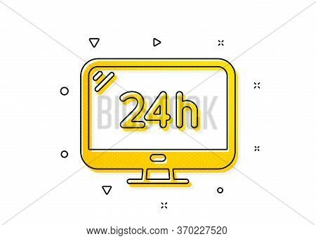 Call Support Sign. 24 Hour Service Icon. Feedback Chat Symbol. Yellow Circles Pattern. Classic 24h S