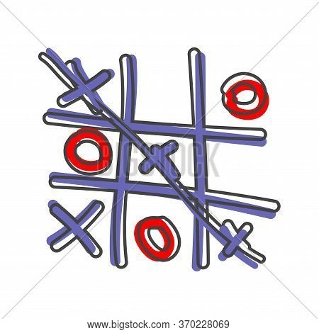 Vector Image Of A Hand-drawn Game Of Crosses And Tic-tac-toe On White Isolated Background.