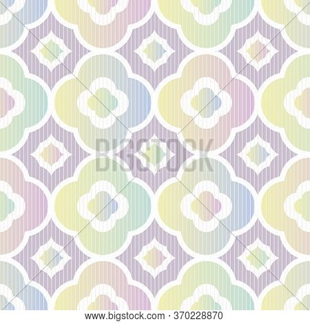 Abstract Geometric Seamless Vector Pattern With Quatrefoil In Pastel Ombre Gradients. Decorative Lig
