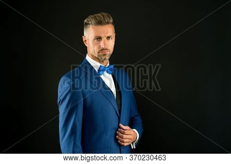 Your Signature Look. Sexy Adult Man In Stylish Tuxedo. Male Fashion And Beauty. Handsome Man Has Gra