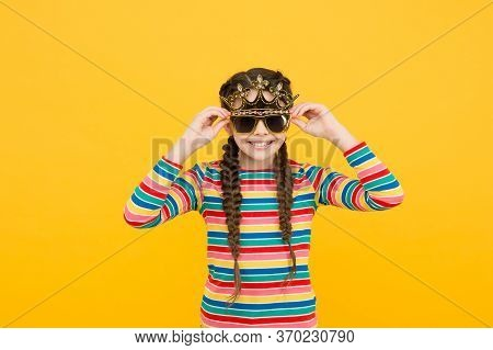 Looking Amazing As Stylish Girl. Happy Girl Wear Crown And Glasses. Child Girl With Party Props. Bea