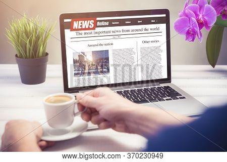 Men Reading News On A Laptop Screen. Mockup Website. Newspaper And Portal On Internet.