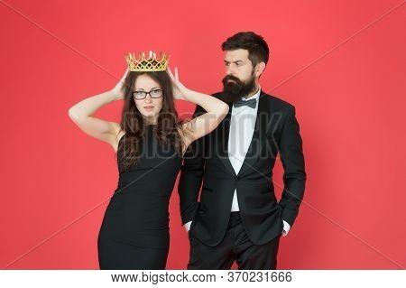 Feeling Big Every Day. Beautiful Female Boss Wear Crown. Beauty Queen. Couple In Love In Formalwear.