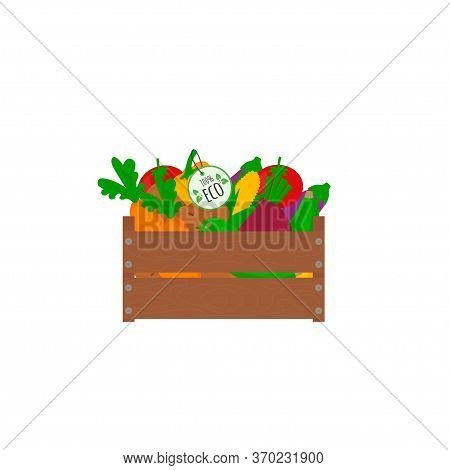 Vector Eco Fresh Seasonal Vegetables: Potato, Carrot, Zucchini In Box. Healthy Eating. Farmers Marke