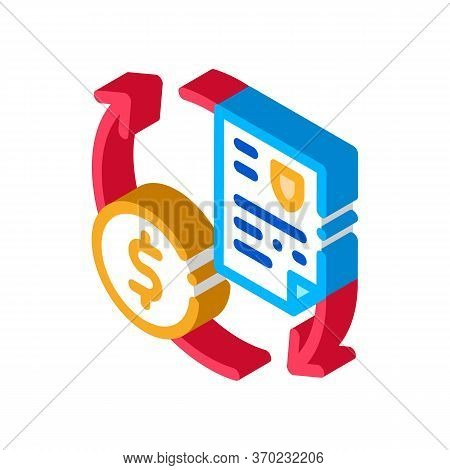 Payment By Money For Security Services Icon Vector. Isometric Payment By Money For Security Services