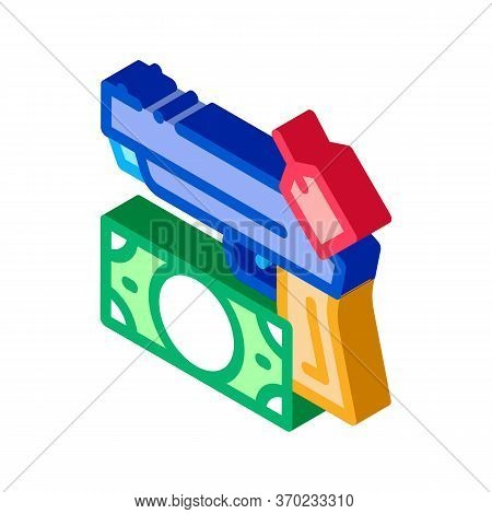 Give Gun To Pawnshop For Money Icon Vector. Isometric Give Gun To Pawnshop For Money Sign. Color Iso