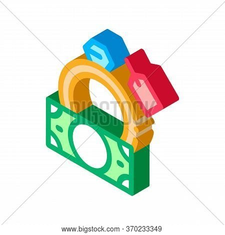 Delivery Of Precious Ring To Pawnshop Icon Vector. Isometric Delivery Of Precious Ring To Pawnshop S