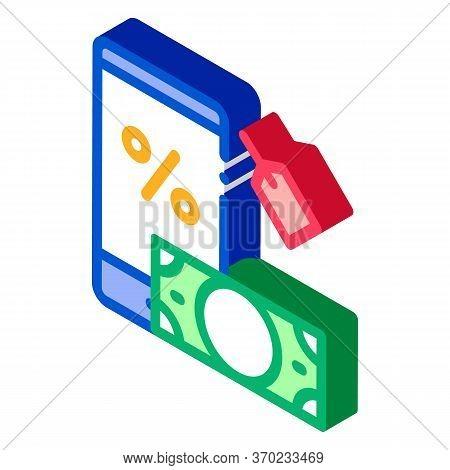 Money Phone Pledge Icon Vector. Isometric Money Phone Pledge Sign. Color Isolated Symbol Illustratio