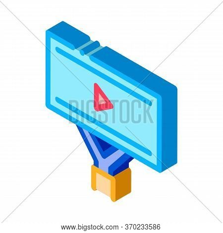 Installed Video Ads Icon Vector. Isometric Installed Video Ads Sign. Color Isolated Symbol Illustrat
