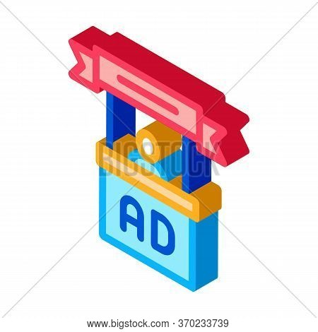 Advertising Reception Center Icon Vector. Isometric Advertising Reception Center Sign. Color Isolate