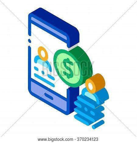 Transfer Money To Person Via Phone Icon Vector. Isometric Transfer Money To Person Via Phone Sign. C